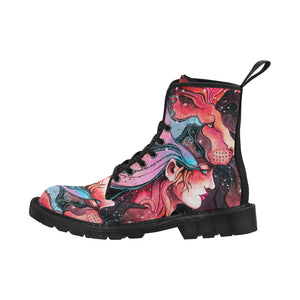 girl in the mask of a lion Martin Boots for Women (Black) (Model 1203H)
