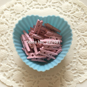 25 Cute Mini Pink Clothes Pegs Clothespins For Baby Shower