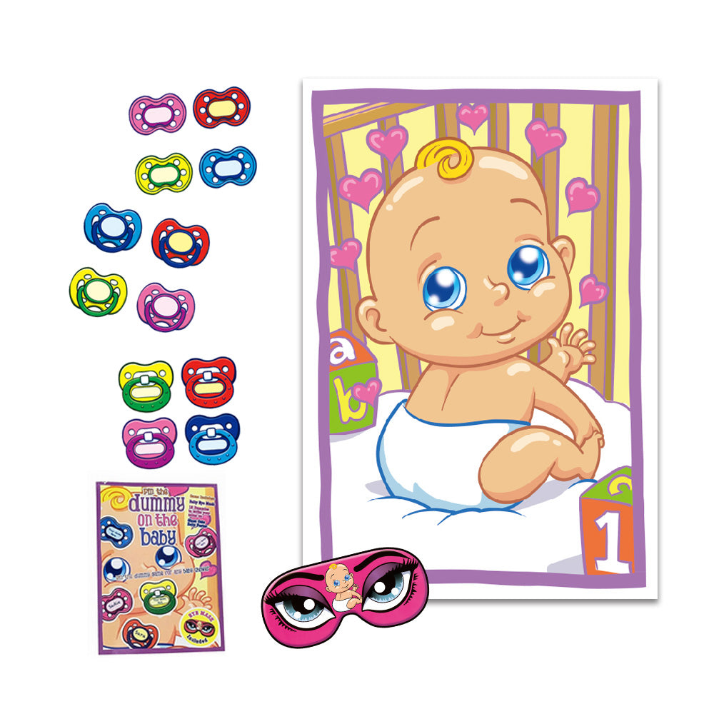 Pin The Pacifier Baby Shower Game (mask & 12 pacifiers included)