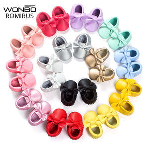 16 Color Leather Newborn Baby Moccasins 0-18 Months