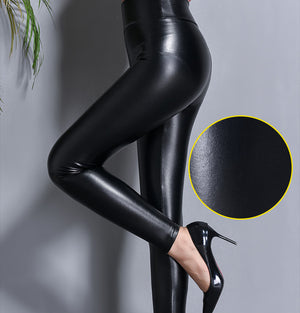 Black Ice Sleek Faux Leather Leggings - 10X More Durable