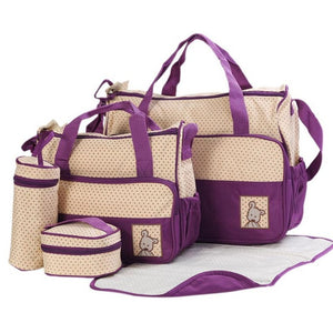 5 Pcs Backpack Diaper Bag with Baby Changing Bags - Hipster Family