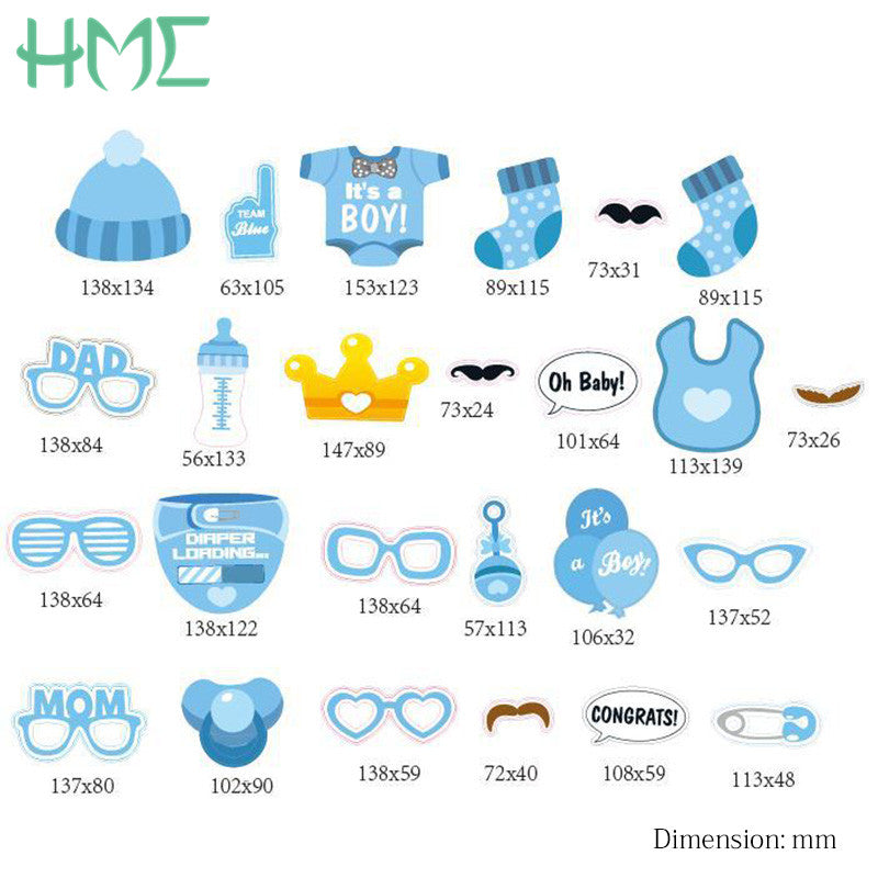 25 30pc Baby Shower Photo Booth Props Baby Shower Party Hipster Family