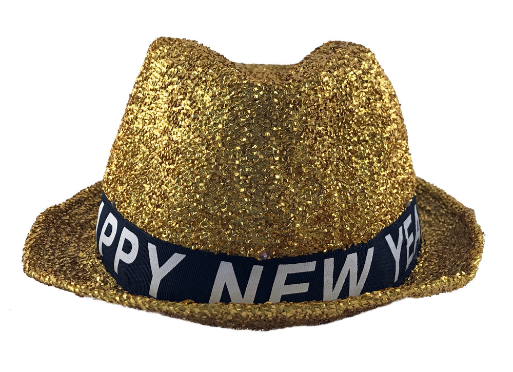 New Years Hat - Happy New Years Eve Hat - Light Up Gold Fedora - KINREX LLC