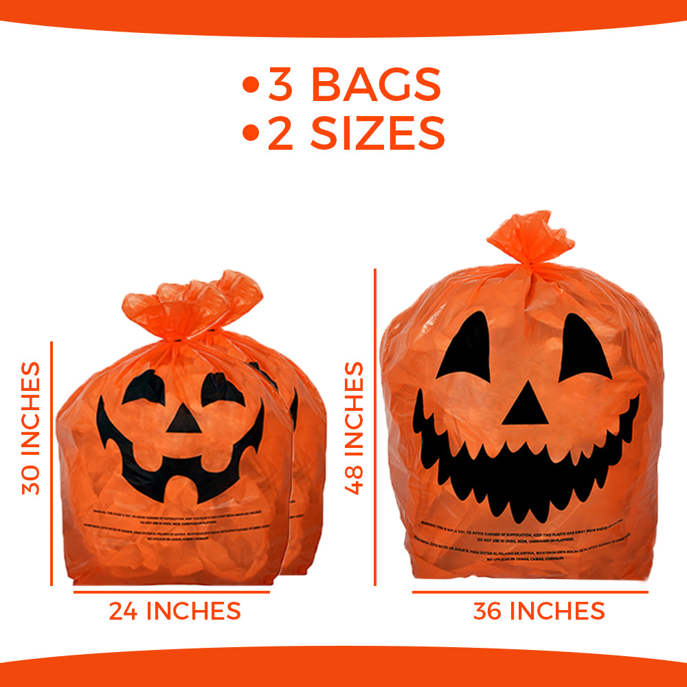 Halloween Pumpkin Bags - Halloween Pumpkin Leaf Bags - Pack Of 3 With Twist Ties - KINREX LLC