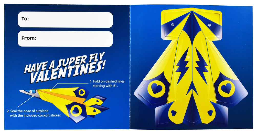 Valentines Day Paper Airplane Cards For Kids - 36 Count - KINREX LLC