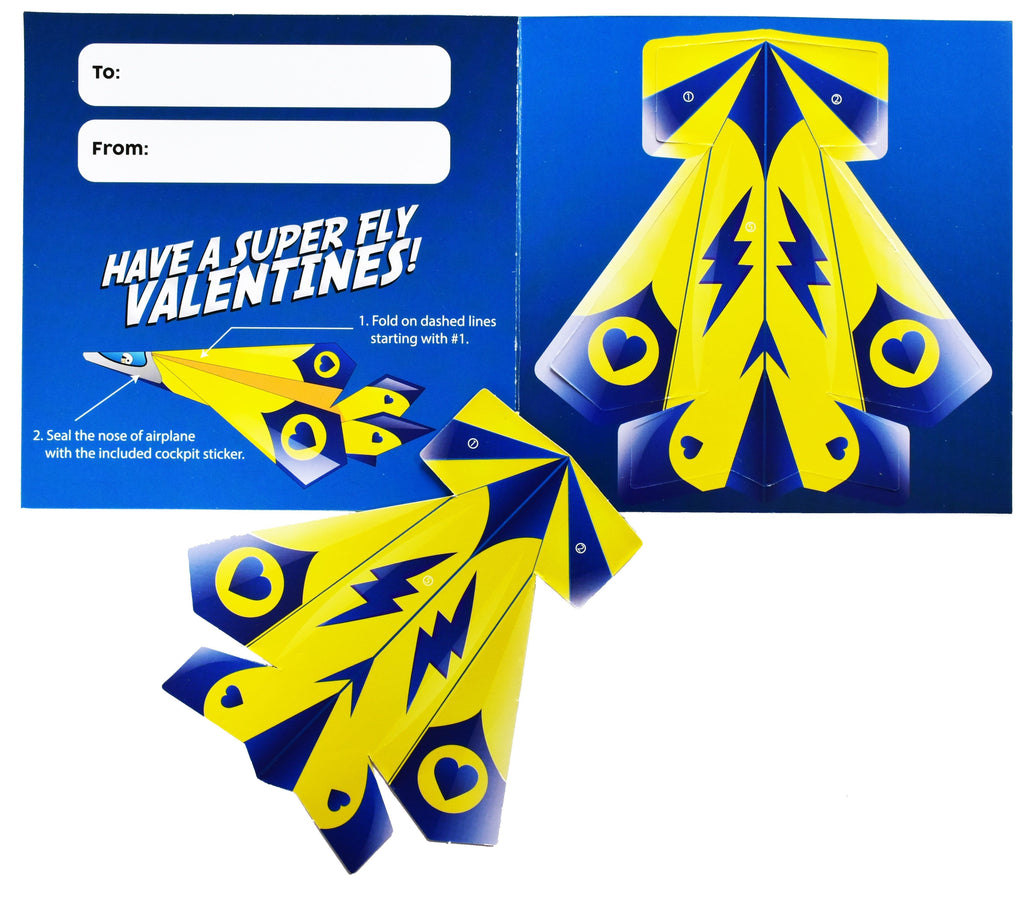 Valentines Day Paper Airplane Cards For Kids - 36 Count