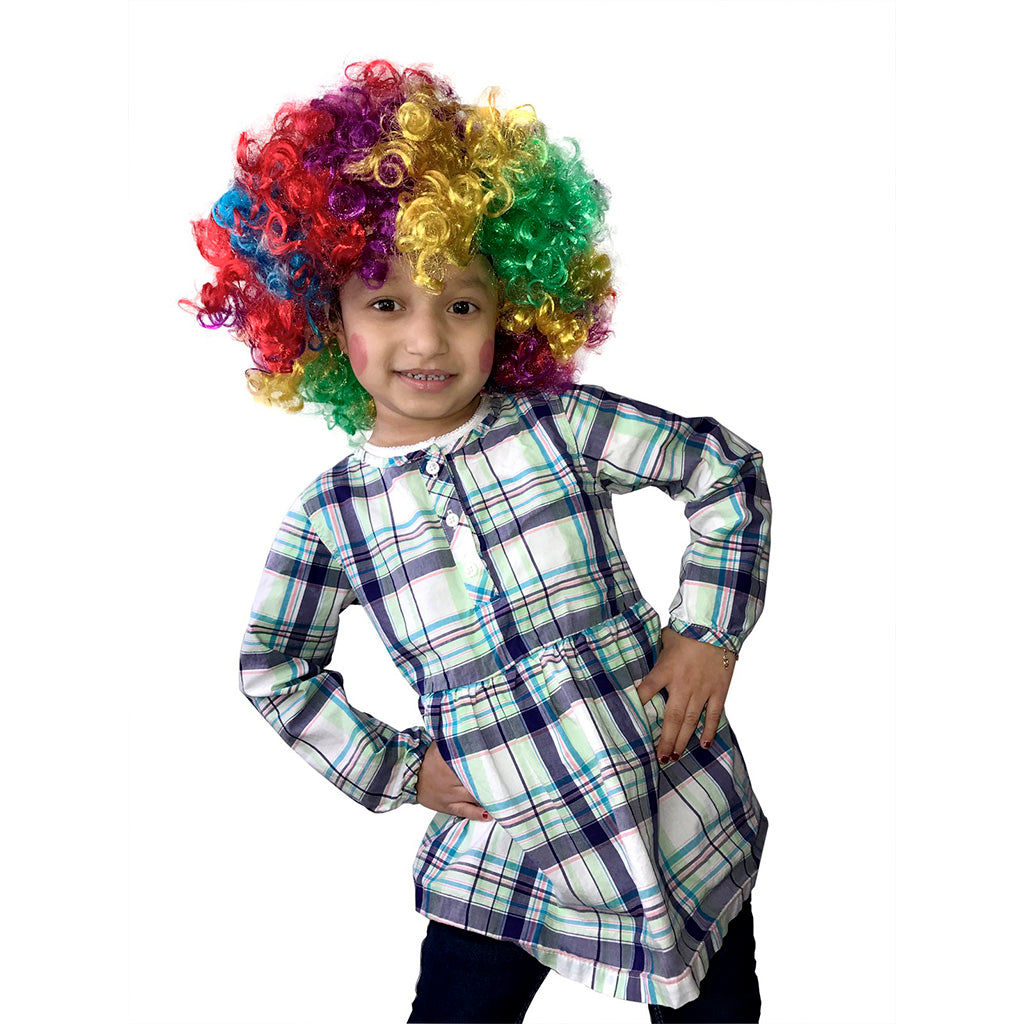 Rainbow Clown Wig, Rainbow Curls Clown Wig - KINREX LLC