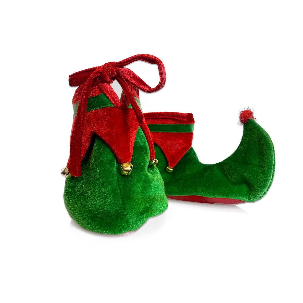 Christmas Elf Shoes Costume - Plush Elf Shoes for Kids and Adults - Green and Red - One Size Fits Most - KINREX LLC
