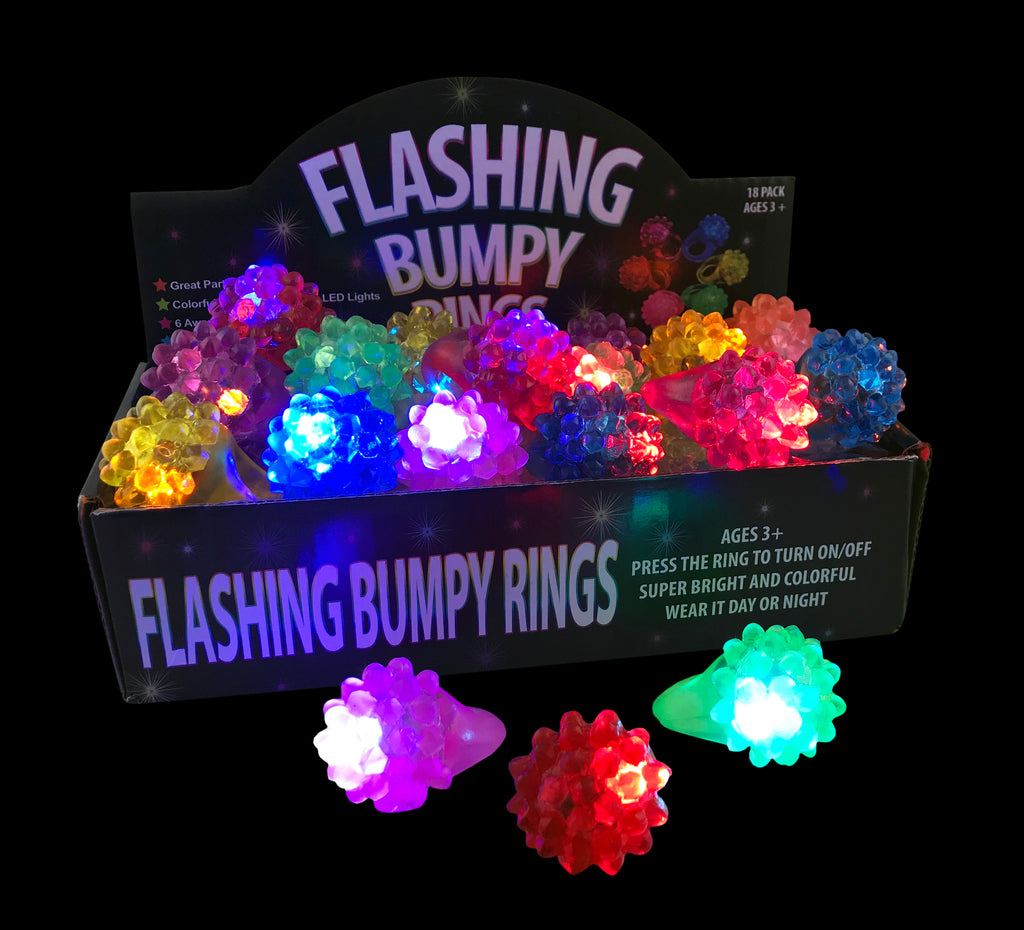 Led Rings - Light Up Rings - Flashing Bumpy Rings