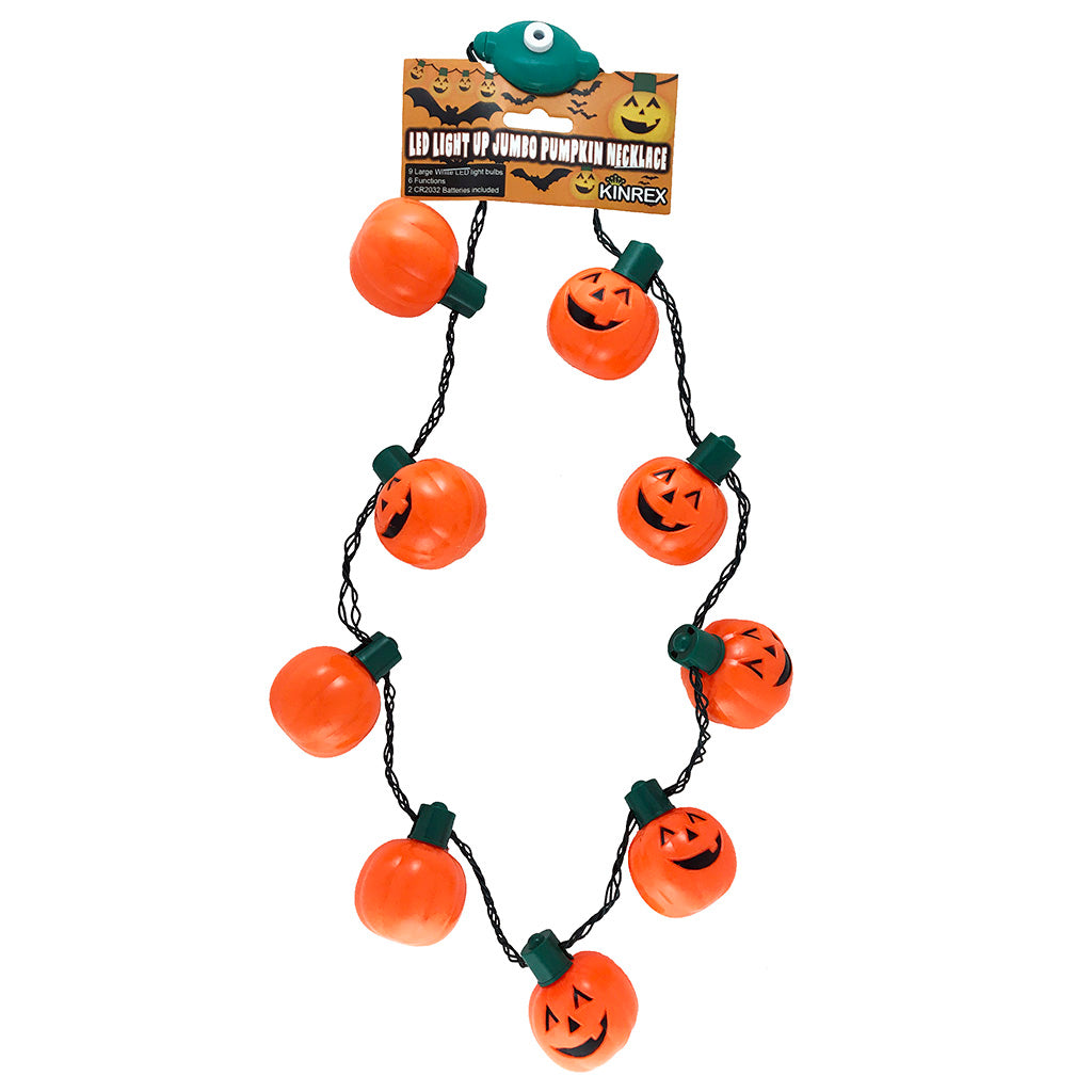 Pumpkin Led Necklace - Pumpkin Necklace - Light Up Jack O Lantern Necklace