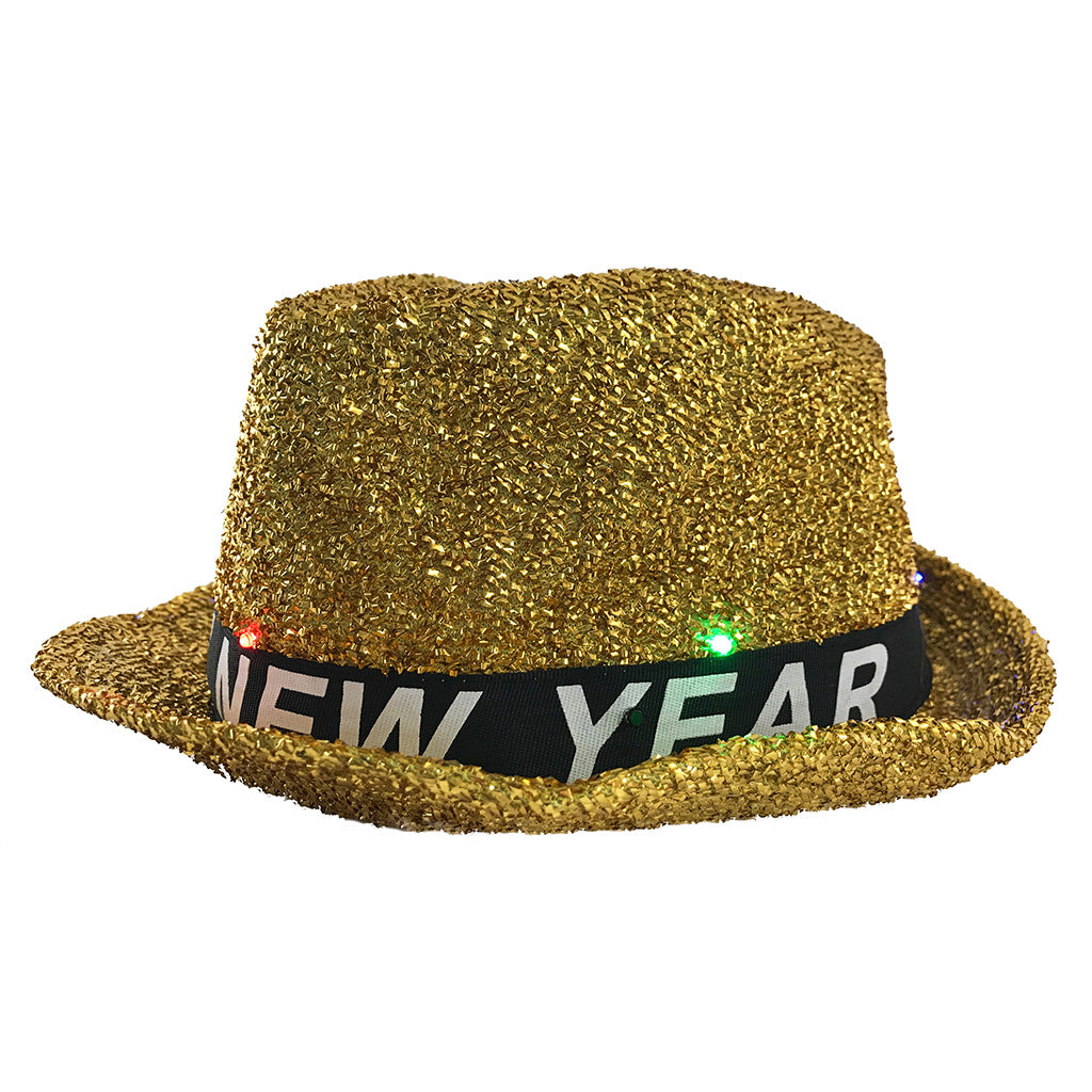 New Years Hat - Happy New Years Eve Hat - Light Up Gold Fedora