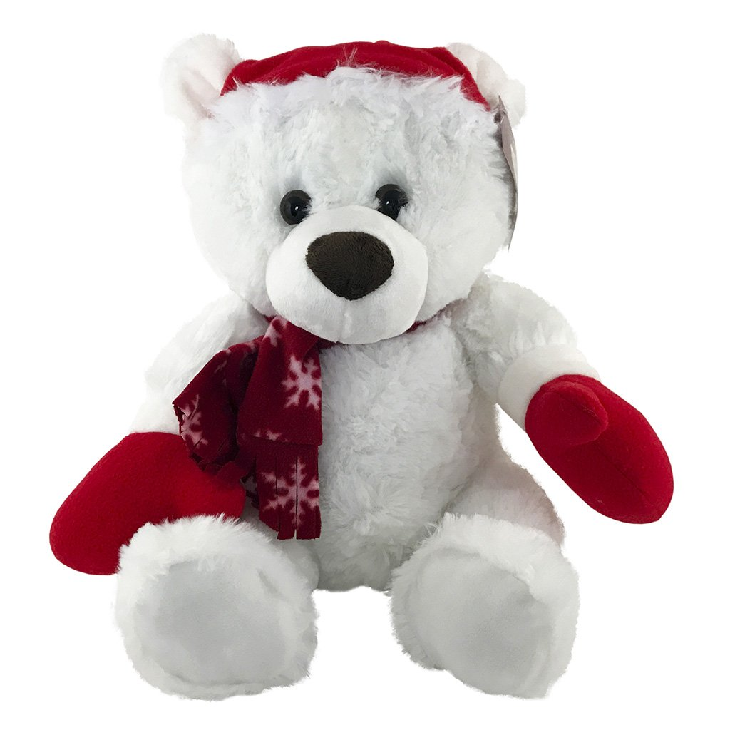 Christmas Teddy Bear - Stuffed Animal For Christmas - White Teddy Bear - KINREX LLC
