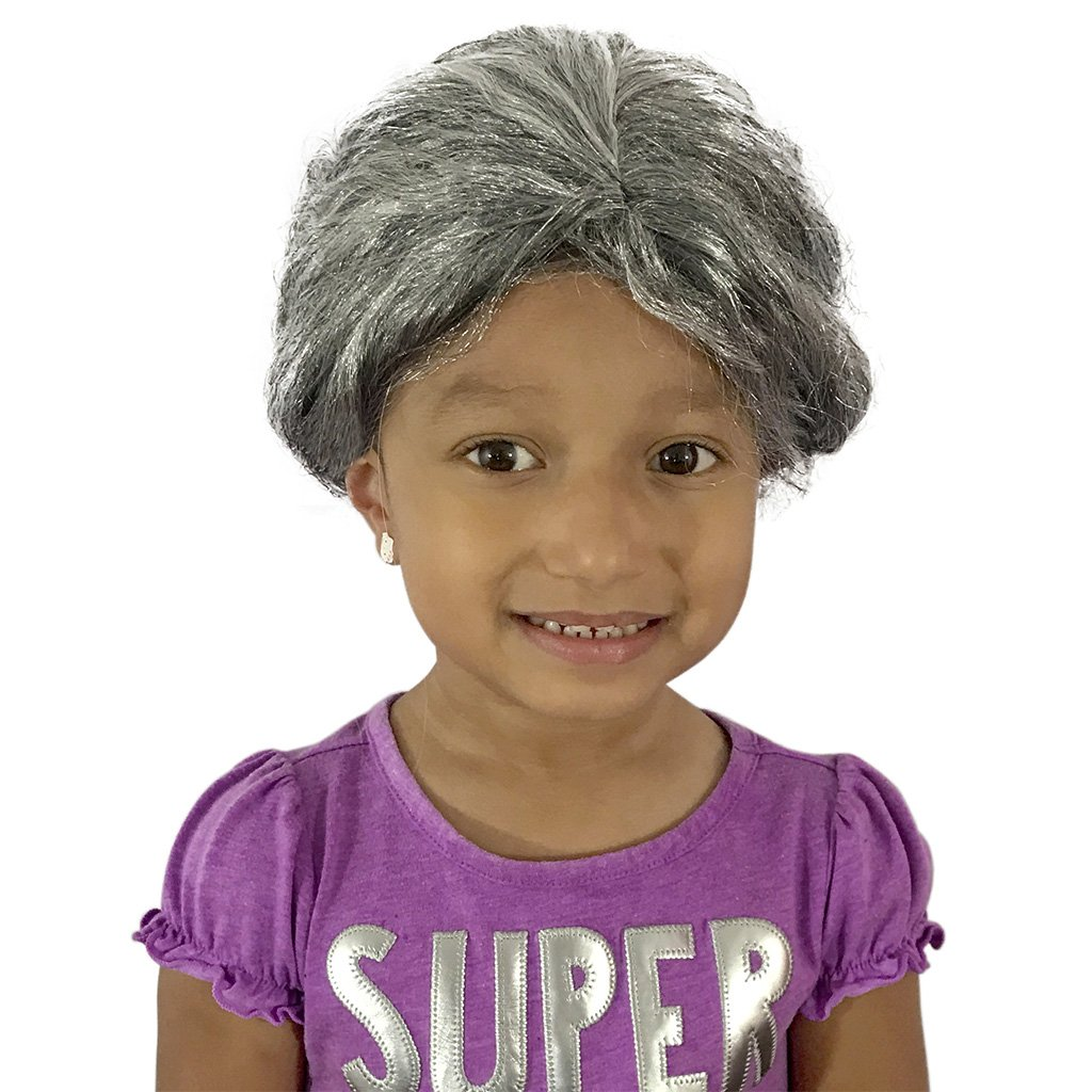 Grey Hair Wig - Grandma Wig - Old Lady Wig For Adults, Teens And Kids - KINREX LLC