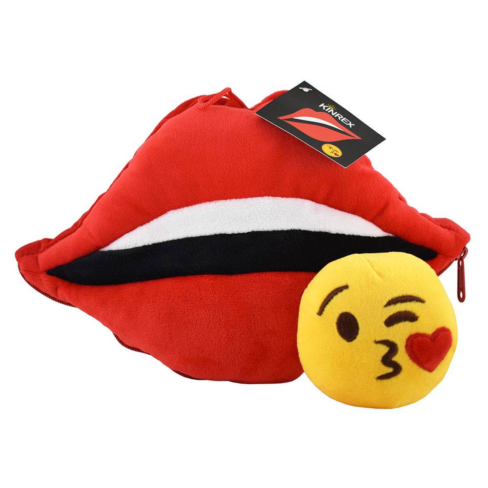 Lips Emoji Pillow With Blow Kiss Emoji Inside