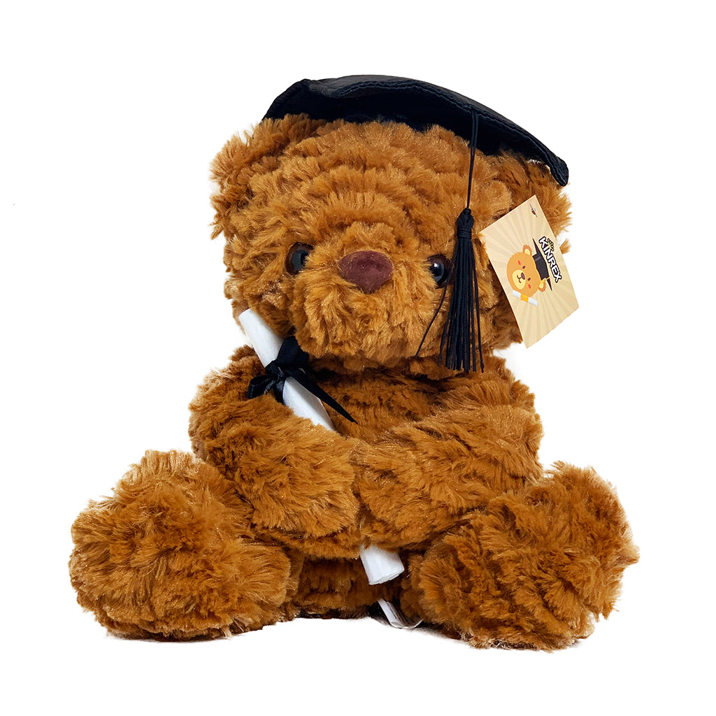 "Graduation Plush Teddy Bear - Brown Stuffed Animal With Graduation Cap 11.81"" / 30 Cm"