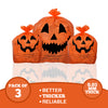 Halloween Pumpkin Plastic Lawn and Leaf Bags Decoration - Outdoor Fall Trash Bag Decor - Orange Jack O Lantern - Pack of 3 with Twist Ties
