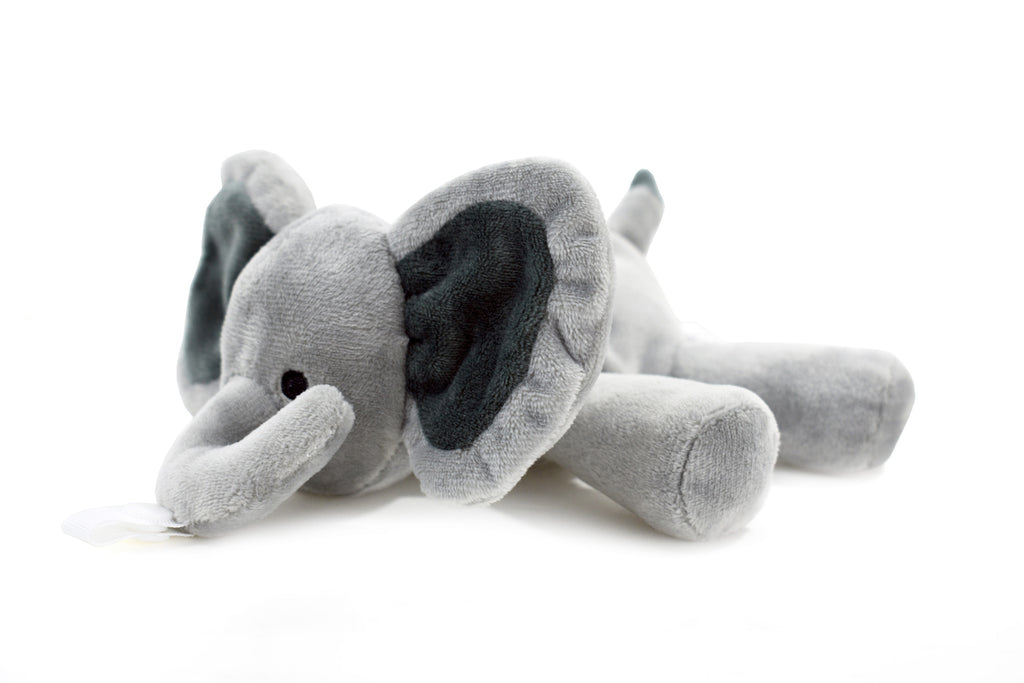 Grey Elephant Plush Pacifier Holder - Stuffed Animal Pacifier