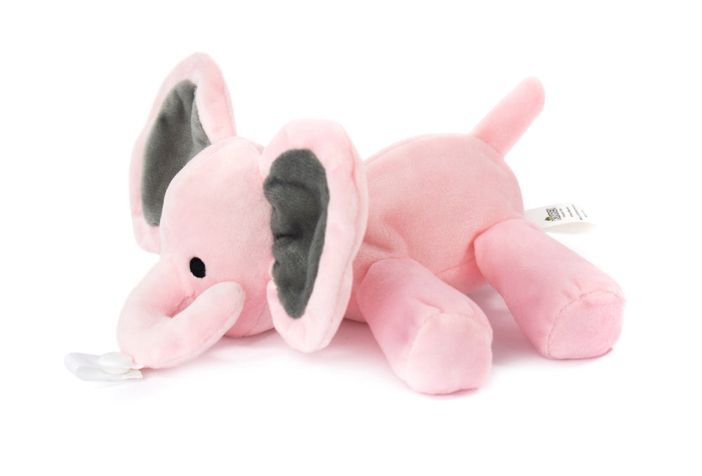 Pink Elephant Plush Pacifier Holder - Stuffed Animal Pacifier