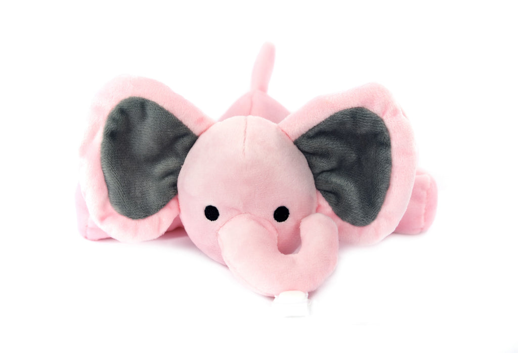 Pink Elephant Plush Pacifier Holder - Stuffed Animal Pacifier - KINREX LLC