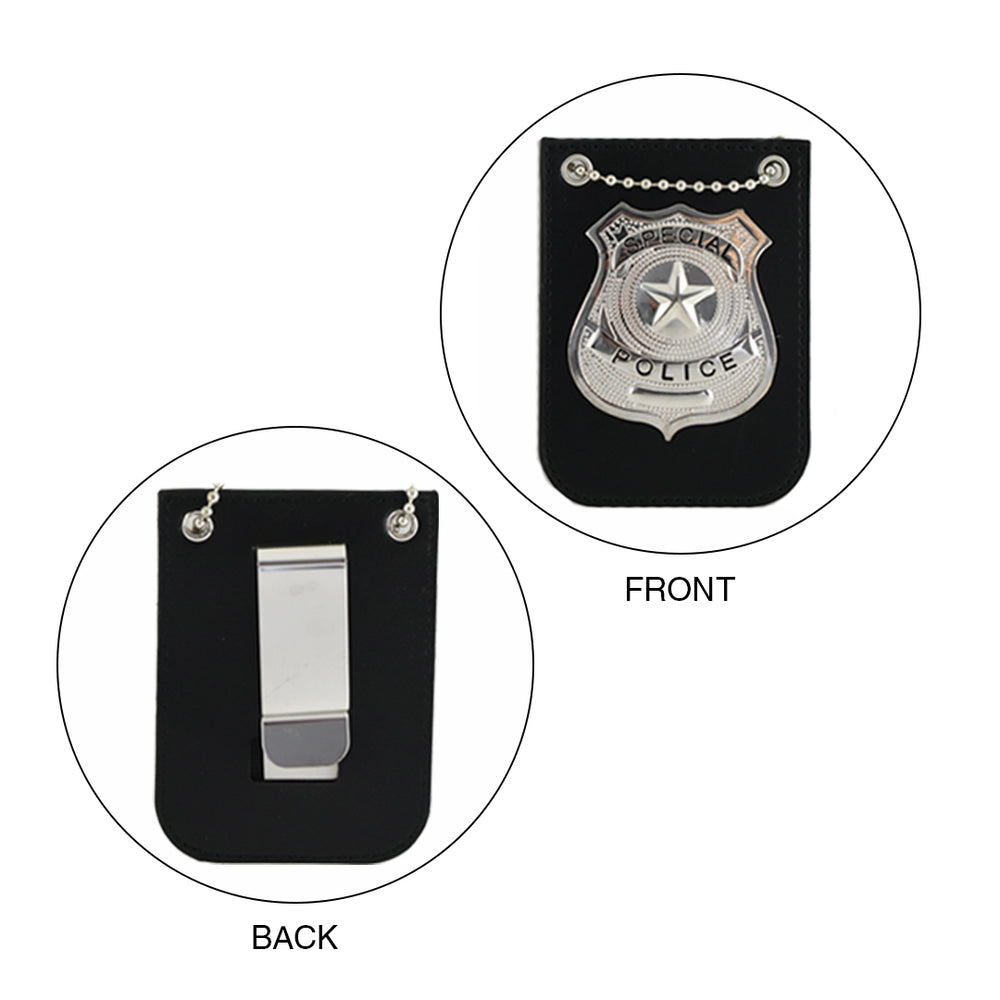 Police Badge Toy - Police Badge Holder With Chain And Black Belt Clip - KINREX LLC