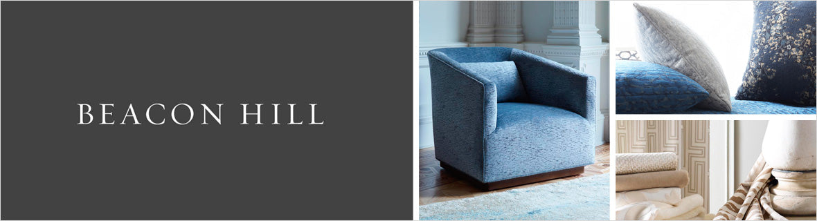 Beacon Hill Fabrics, a selection of fabrics such as velvet, damask, cotton, silk, linen and sheers.