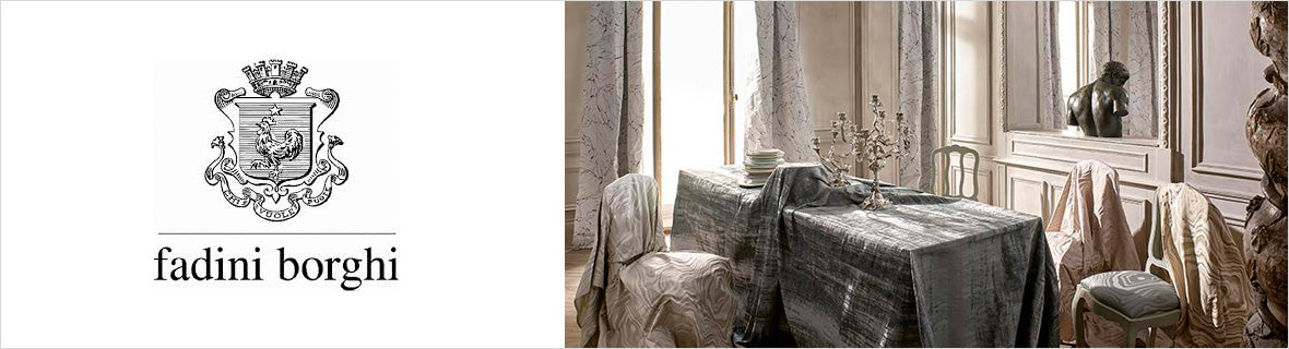 Fadini Borghi Fabrics, a selection of fabrics such as velvet, damask, cotton, silk, linen and sheers.