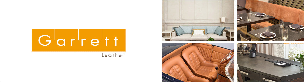Garrett Leather, A leather and suede collection that includes an large variety of colors, patterns, prints, metallic, and embossed styles.