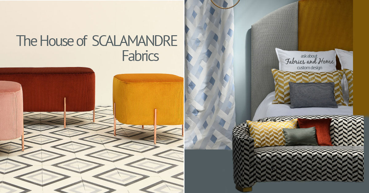 Scalamandre Fabrics, a selection of fabrics such as velvet, damask, cotton, silk, linen and sheers.