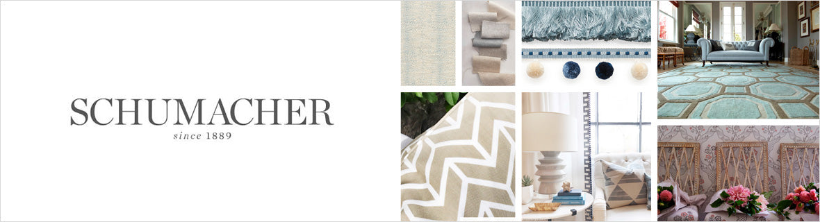 Schumacher Fabrics, a selection of fabrics such as velvet, damask, cotton, silk, linen and sheers.