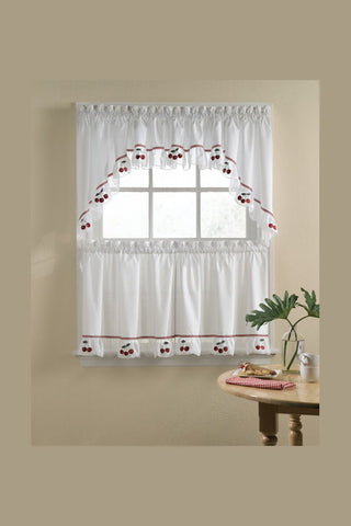 shirred cafe curtain with cherries