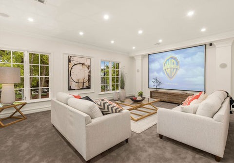 Home theater, movie theater, empty nester renovation