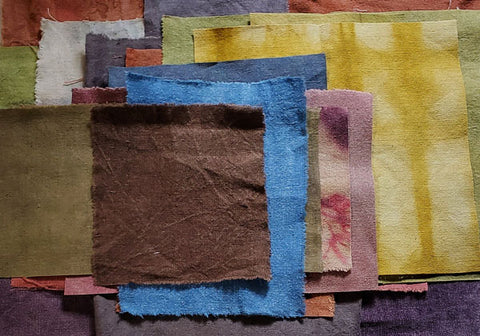 *Hand dyed hemp fabric. Offered in bundles of different sizes for people to use in their own creative projests.
