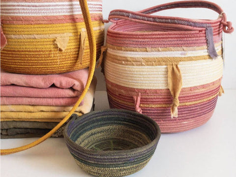 Large custom rope basket. Hand dyed with Madder Root. a plant pot.
