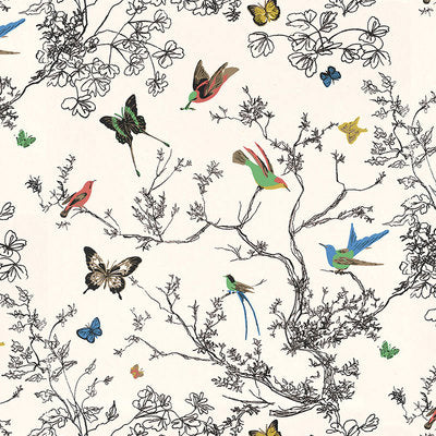 Schumacher Wallcovering - 2704420-Birds & Butterflies - Multi On White
