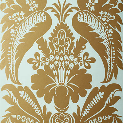 Schumacher Wallcovering - 5003732-Montebello Damask - Aqua