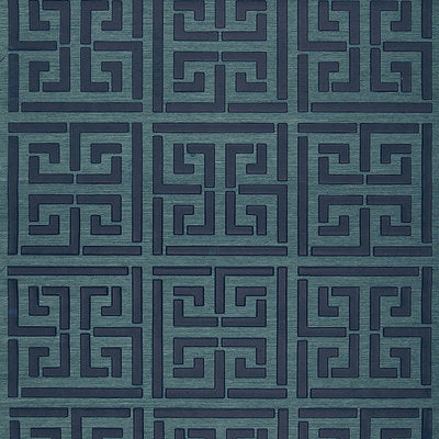 Schumacher Wallcovering - 5005691-Greek Key Sisal - Peacock