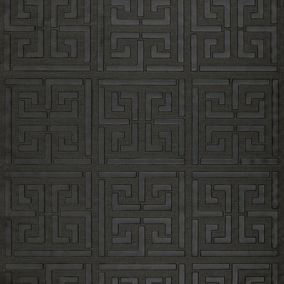 Schumacher Wallcovering - 5005692-Greek Key Sisal - Jet