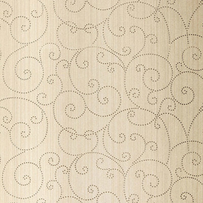 Schumacher Wallcovering - 5005720-Beaded Scroll - Aged Silver
