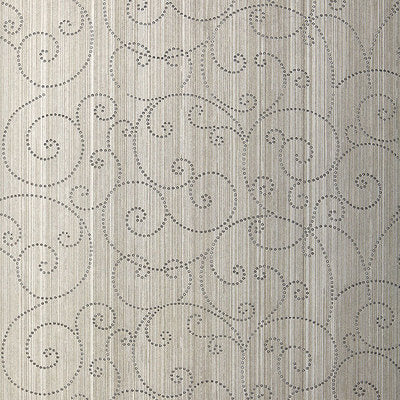 Schumacher Wallcovering - 5005721-Beaded Scroll - Pewter