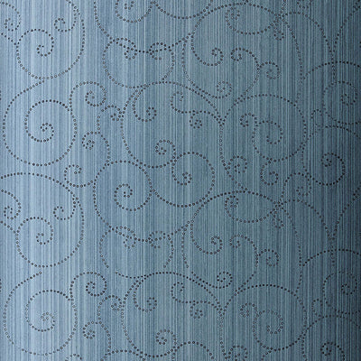 Schumacher Wallcovering - 5005722-Beaded Scroll - Peacock