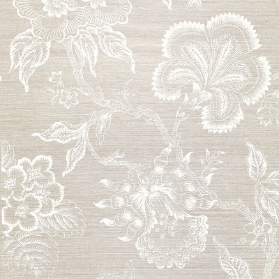 Schumacher Wallcovering - 5006090-Hothouse Flowers Sisal - Fog & Chalk