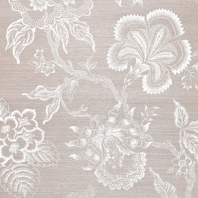 Schumacher Wallcovering - 5006091-Hothouse Flowers Sisal - Haze & Chalk