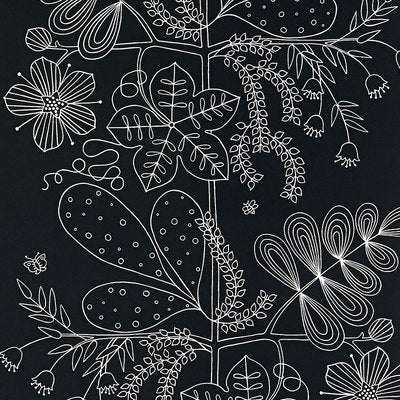 Schumacher Wallcovering - 5007494-Blommen - Ebony