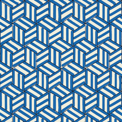 Schumacher Wallcovering - 5007962-Tumbling Blocks - Cobalt