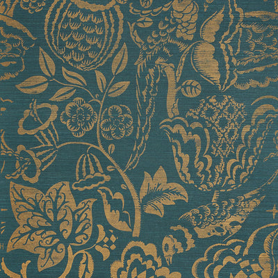 Schumacher Wallcovering - 5008264-Uccello Sisal - Gold On Peacock