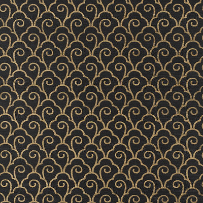 Schumacher Wallcovering - 5008301-Scallop Filigree Sisal - Gold On Jet