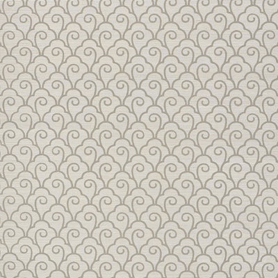 Schumacher Wallcovering - 5008303-Scallop Filigree Sisal - Fog