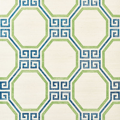Schumacher Wallcovering - 5008931-Octavia Sisal - Turquoise & Palm