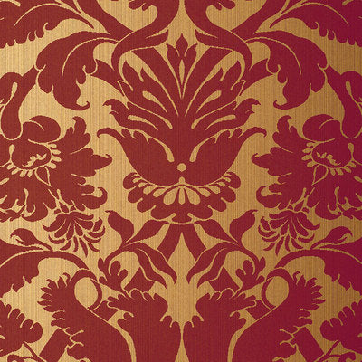 Schumacher Wallcovering - 529195-Fiorella Damask - Red On Gold